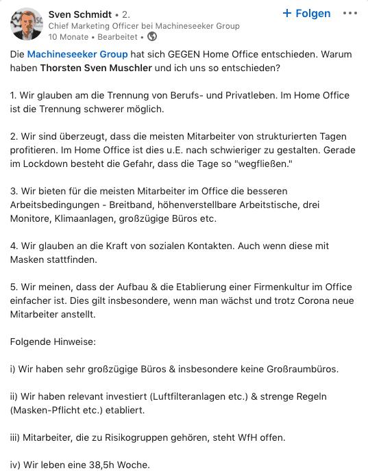 LinkedIn Post Sven Schmidt